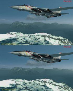 Effekten av tesselering i spill. Den er slått av til venstre, og er på til høyre. Legg merke til hvor mye mer detaljrikt fjellet er.