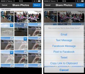 Du kan nå merke mange bilder, og så dele dem på blant annet Facebook, Twitter eller via e-post.