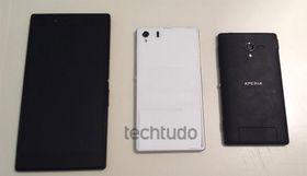 Den samme telefonen har vært avbildet sammen med Xperia Z Ultra tidligere. Til høyre en variant av Sonys Xperia Z.