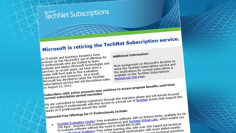 Microsoft avslutter billigtjenesten TechNet