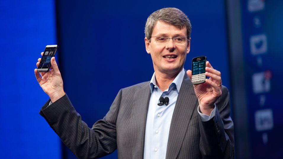 Toppsjef Thorsten Heins i Blackberry kan gå tom for penger om halvannet år.