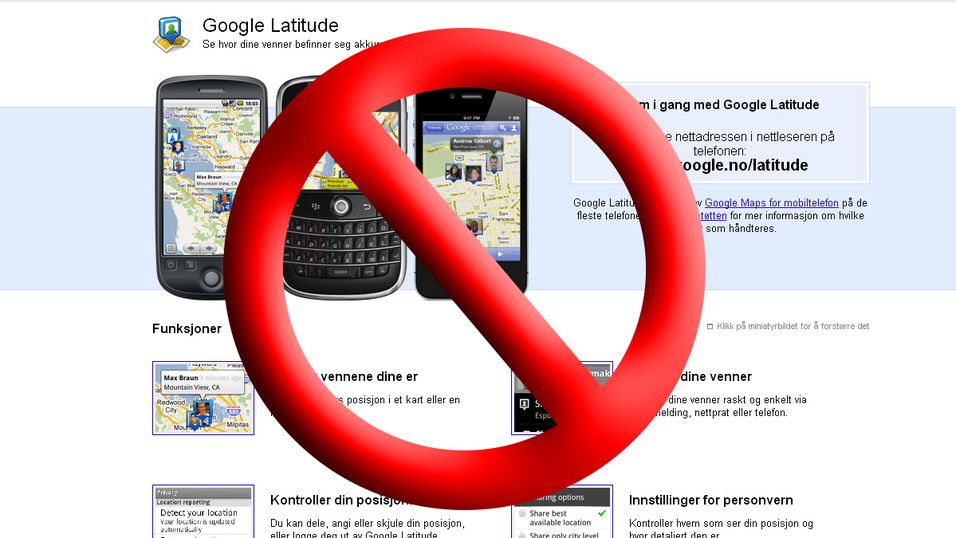 Google Latitude legges ned