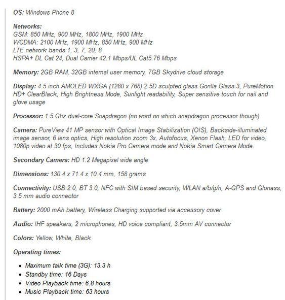 Dette skal være spesifikasjonene til Lumia 1020.