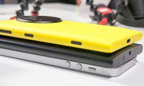 Fra nederst: Apple iPhone 5, Lumia 920 og Lumia 1020.