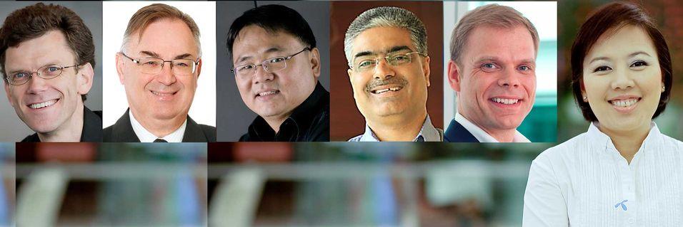 Telenors lederteam i Myanmar. Fra venstre Petter Fureberg (CEO), Gunnar Bertelsen (CCAO), Prathet Tankuranun (CTO), Sharad Mehrotra (CMO), Lars Erik Tellmann (CFO) og Tipayarat Kaewsringarm (CPO)