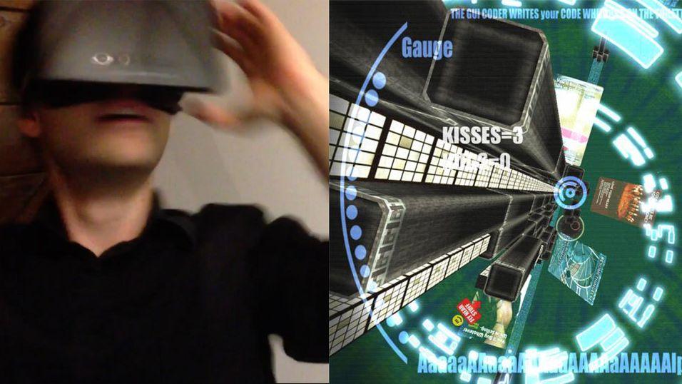 Her er han i fritt fall med Oculus Rift