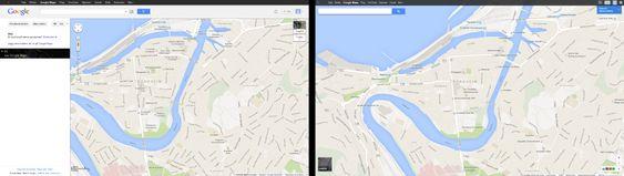 En sammenligning mellom gamle (til venstre) og nye Google Maps.
