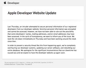 Mailen Apple har sendt ut til utviklere.