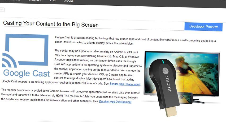 Google Cast-knappen er tenkt å dukke opp både i Googles egne applikasjoner, og i tredjeparts apper fra eksempelvis Netflix eller HBO.
