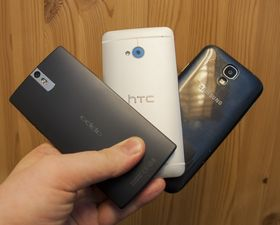 Oppo Find 5, HTC One og Samsung Galaxy S4.