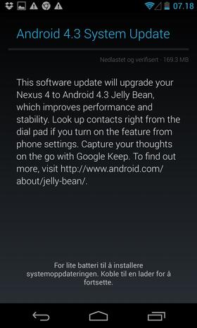 Kort tid etterpå vil du bli varslet om at en ny oppdatering er klar.