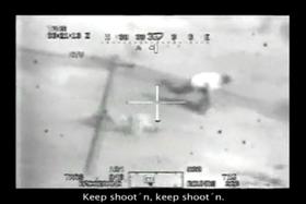 En skjermdump fra en film Manning har lekket. Den viser et amerikansk helikopterangrep mot irakere.