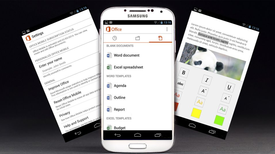 Microsoft slipper Office for Android