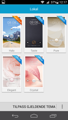 Som vanlig inkluderer Huawei ulike temaer for menyene.