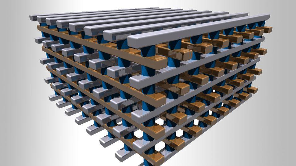 En illustrasjon av den nye lagringsløsningen, der en serie med matriser er stablet på hverandre for å gi høy lagringstetthet.