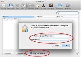 Slik finner du passordlisten i Safari.