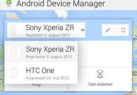 I Android Device Manager får du opp alle enhetene som stotter tjenesten. Du kan endre navn på enheten om du vil.
