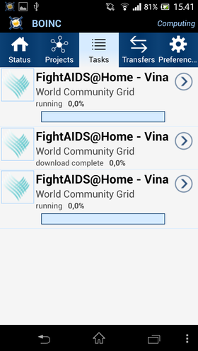 Slik ser BOINC ut på Android.