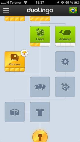 Duolingo tar deg videre i kurset, steg for steg.