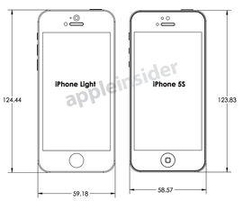 Disse skissene skal vise en iPhone 5C og en 5S.