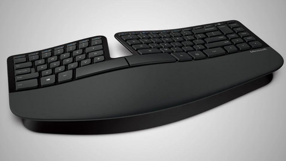 Det er uvisst hvordan det nye Surface-tastaturet skal se ut. Dette er Microsoft eldre modell Sculpt Ergonomic Desktop.