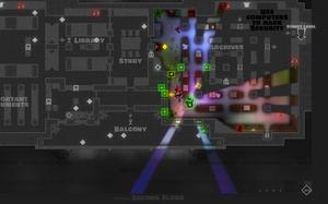 Kun de områdene spillfigurene kan se er i farger.