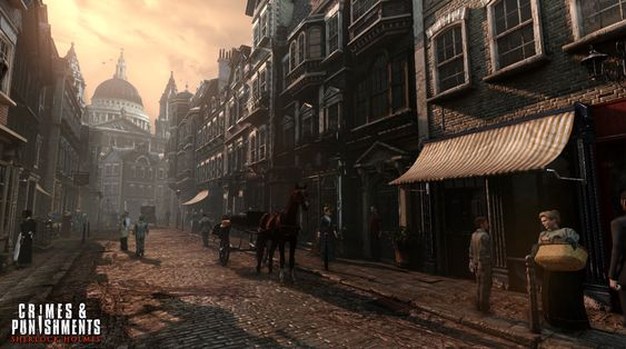 En møkkete gate i attenhundretallets London.
