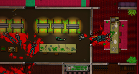 Nye blodpølar i Hotline Miami 2: Wrong Number.