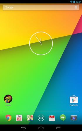 Slik ser en fersk hjemmeskjerm på Nexus 7 med Android 4.3 ut.