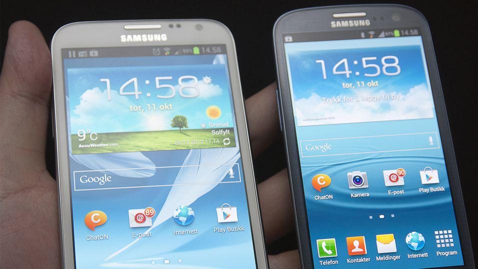 Samsung Galaxy Note II og Samsung Galaxy S III.