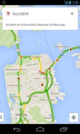 Google Maps får Waze-informasjon i sanntid.