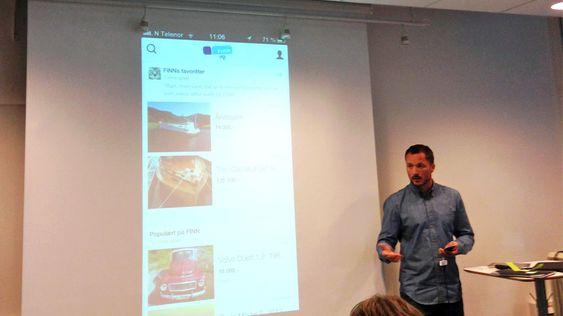 Arnstein Teigene, sjef, apps, i FINN.no fortalte om de nye funksjonene i appen.