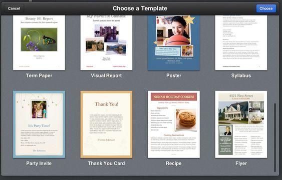 I Pages for iCloud kan du velge mellom en rekke ferdige maler.