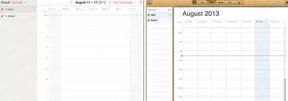 Ny og gammel iCloud-kalender ved siden av hverandre.
