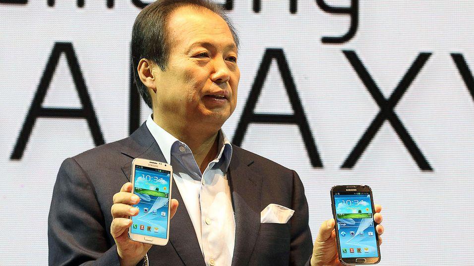 Samsung Galaxy Note II på en pressekonferanse i fjor.