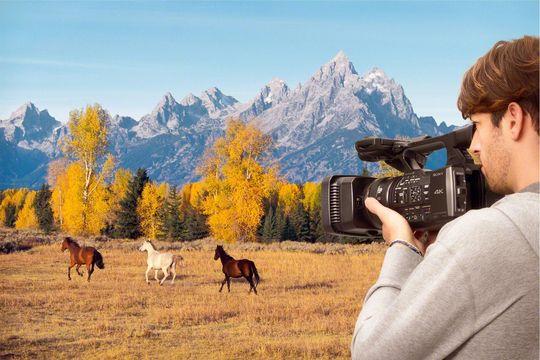 Sony Handycam FDR-AX1E kan også brukes til å filme hester.