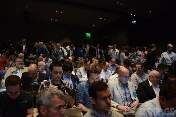 Dette bildet er fra Apples hovedlansering i USA.