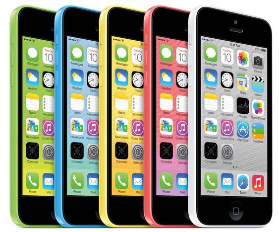 iPhone 5C fås i fem ulike farger.