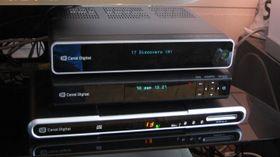Her har du de tre generasjonene med PVR-dekodere fra Canal Digital. Sagem i bunnen, etterfulgt av ADB 5720 CDX og ADB 5743 CDX.