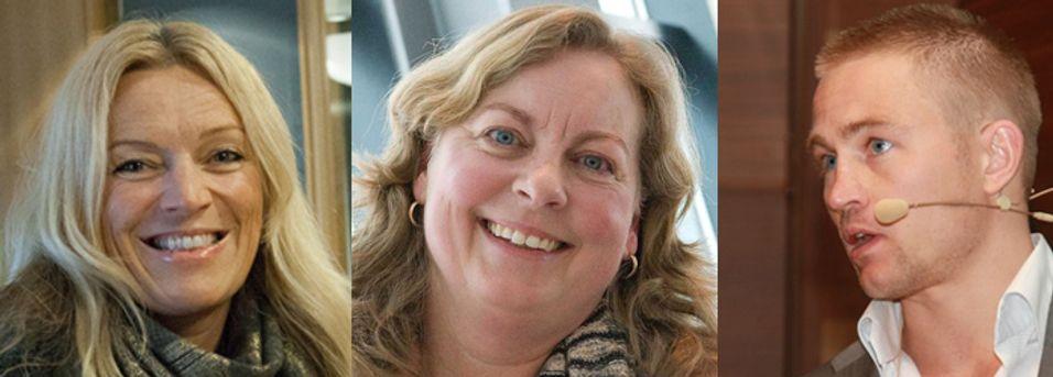 Fiberkjempene: Lyse teles Toril Nag, Telenor Norge-sjef Berit Svendsen og Broadnet-sjef Ole E. Pedersen. Ingen av dem har planer om å bygge fiber til utlandet, selv om de vil hilse mer kapasitet velkommen.