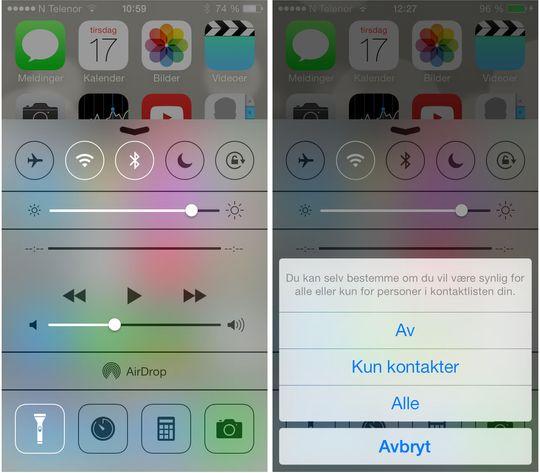 Kontrollsenteret i iOS 7 gir rask tilgang til mye brukte funksjoner.