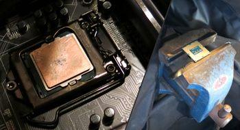 Fjerning av varmespreder på Haswell Se hvordan det gikk da vi slo av prosessorlokket med en hammer