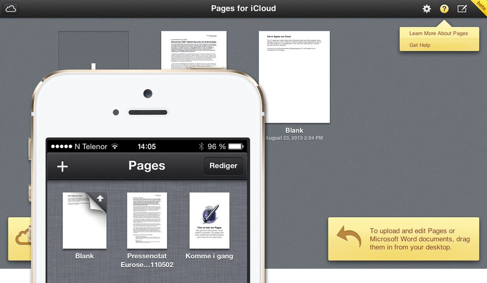 Med Pages, Numbers og Keynote for iCloud kan du jobbe med dokumenter på PC-en, og fortsette på mobilen.