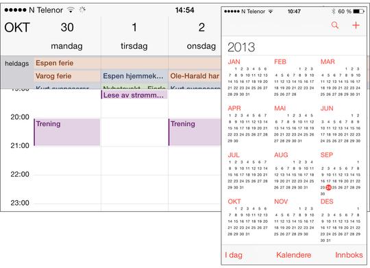 Kalenderen i iOS 7 har blitt mer oversiktlig, og du zoomer inn fra årsvisning til måned og dag i stedet for å velge med knapper. .