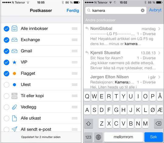 Tilpass selv hvordan innboks-oversikten skal se ut på telefonen din. Søkefunksjonen (til høyre) er blitt mye bedre sammenlignet med i tidligere versjoner av iOS.