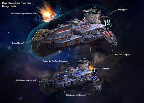 Et av spillets romskip.