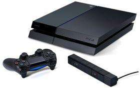PlayStation 4 sammen med den nye håndtrolleren og PlayStation Eye.