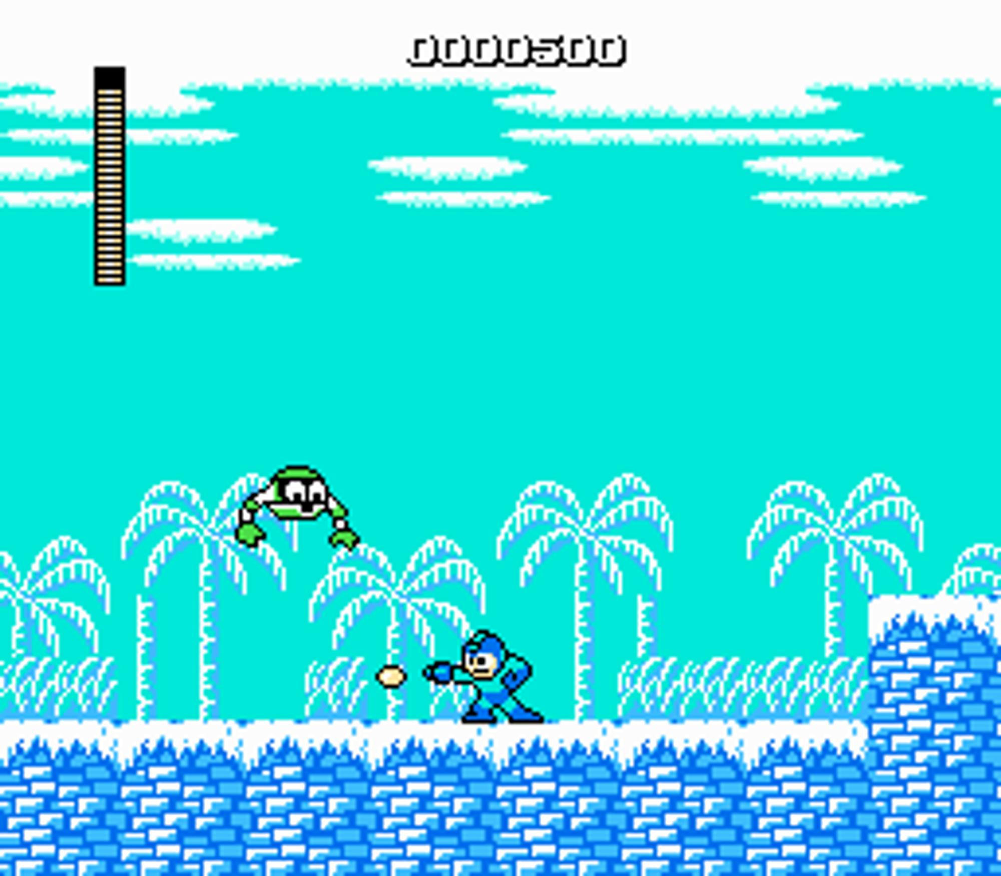 Mega Man på tokt i et av Iceman-brettene.