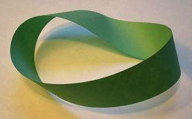 Möbius' bånd (eller Möbius' flate) er et objekt som består av kun én flate og kun én ytterkant. Fenomenet ble oppdaget av de tyske matematikerne August Ferdinand Möbius (1790–1868) og Johann Benedict Listing (1808–1882) i 1858, uavhengig av hverandre. (Kilde og foto: wikipedia.org)