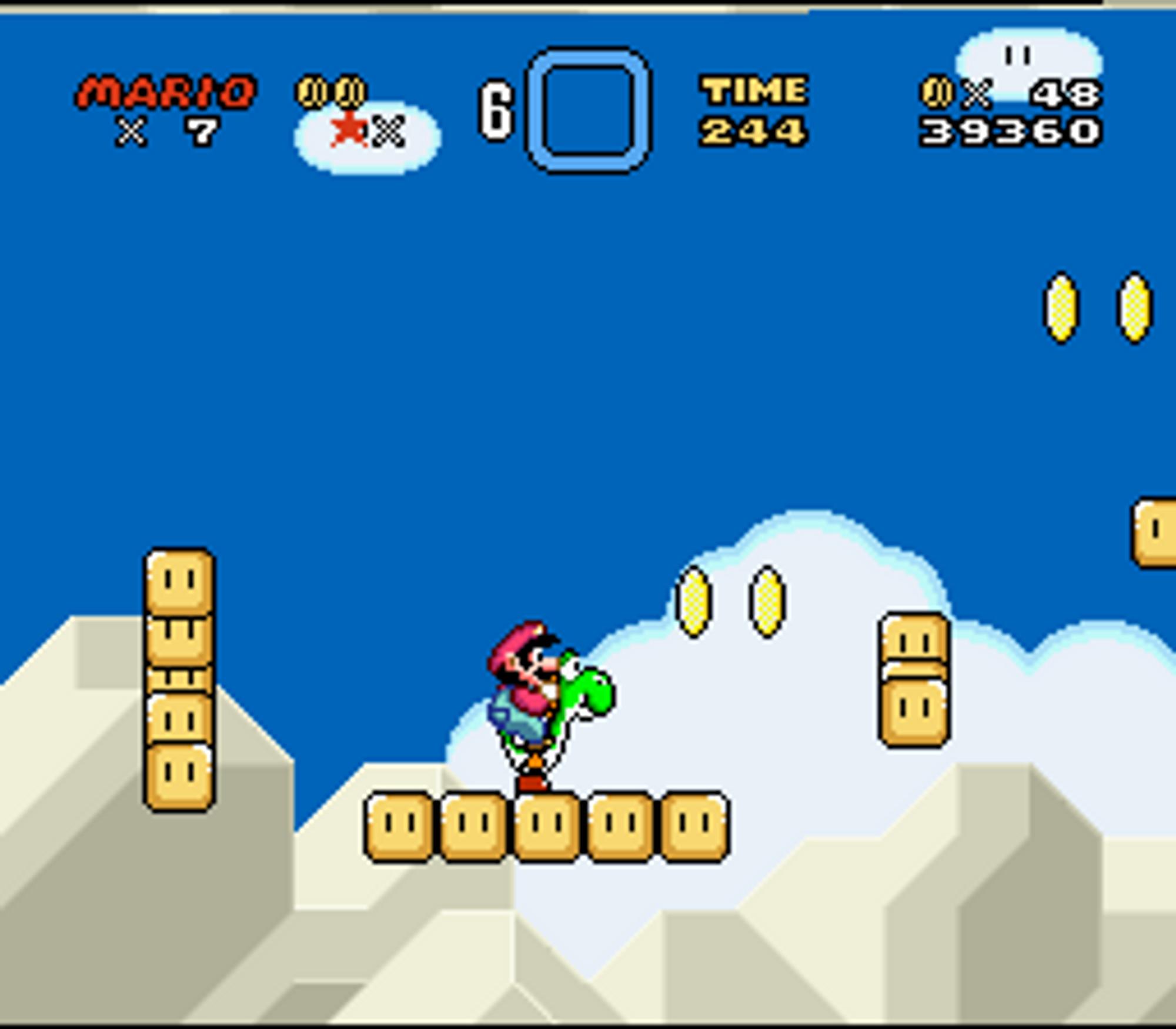 Mario i kjent stil, på ryggen til Yoshi.